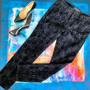 CHICOS PLATINUM Flocked Velvet Black Paisley Jeans